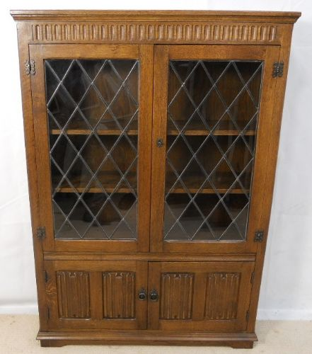 Oak Leaded Door Bookcase Cabinet